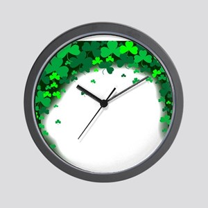 Shamrock Clover Background Wall Clock