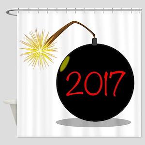 Cartoon 2017 New Year Bomb Shower Curtain