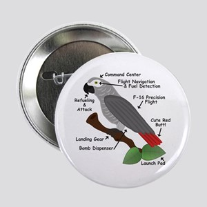 "Anatomy of an African Grey Parrot 2.25"" Button"