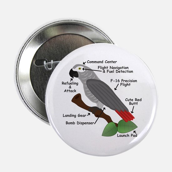 """Anatomy of an African Grey Parrot 2.25"""" Button"""