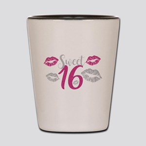 Sweet Sixteen 16 Birthday Glitter Lips Shot Glass