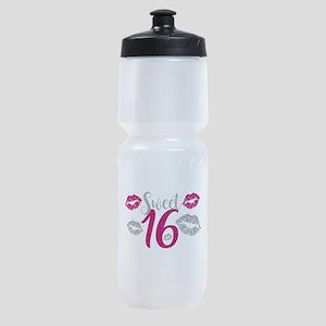 Sweet Sixteen 16 Birthday Glitter Li Sports Bottle