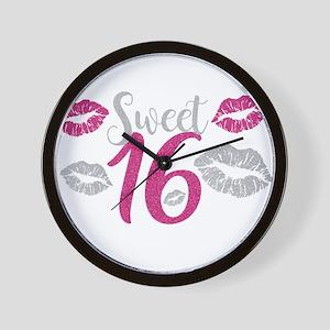 Sweet Sixteen 16 Birthday Glitter Lips Wall Clock