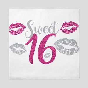 Sweet Sixteen 16 Birthday Glitter Lips Queen Duvet