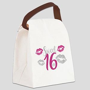 Sweet Sixteen 16 Birthday Glitter Canvas Lunch Bag
