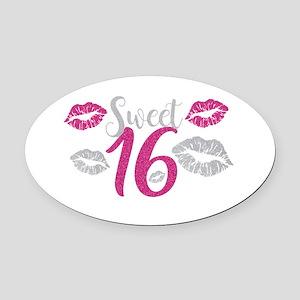 Sweet Sixteen 16 Birthday Glitter Oval Car Magnet