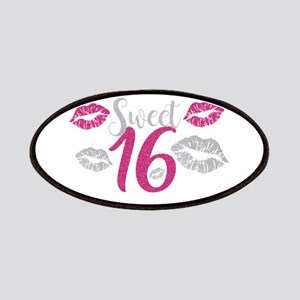 Sweet Sixteen 16 Birthday Glitter Lips Typog Patch