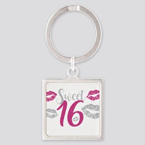 Sweet Sixteen 16 Birthday Glitter Lips T Keychains