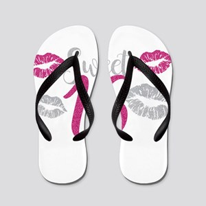 Sweet Sixteen 16 Birthday Glitter Lips Flip Flops