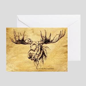 Moose Sepia Ink Drawing Greeting Card