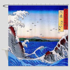 Hiroshige Wild sea breaking on the Shower Curtain