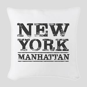 MANHATTAN NEW YORK NEW YORK Woven Throw Pillow