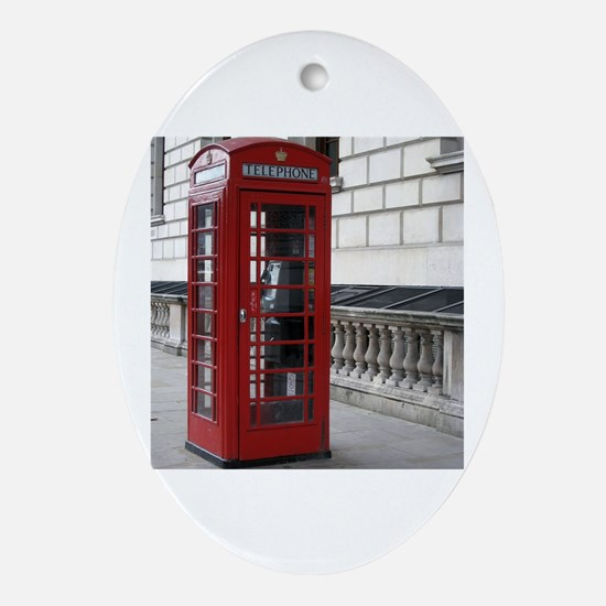 Funny Telephone booth Oval Ornament