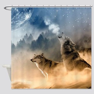Wolves Howling at moon Shower Curtain