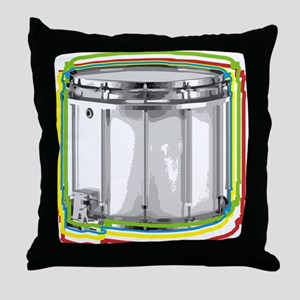 Marching Snare Drum Neon Throw Pillow