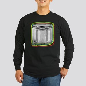 Marching Snare Drum Neon Long Sleeve Dark T-Shirt