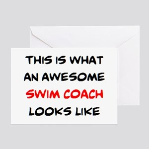awesome swim coach greeting card
