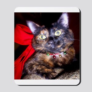 Christmas Tortie Cat Mousepad