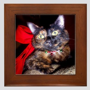 Christmas Tortie Cat Framed Tile