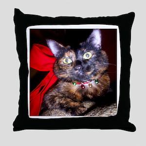 Christmas Tortie Cat Throw Pillow
