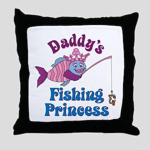 Daddy's Fishing Princess Throw Pillow
