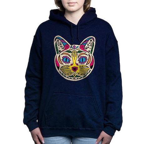 Multicolored Cat Women's Hooded Sweatshirt