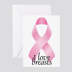 I Love Breasts Ribbon Greeting Cards (Pk of 10)
