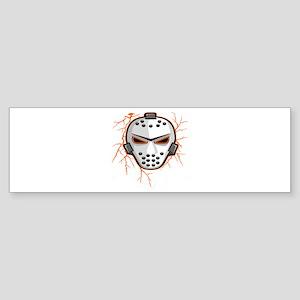 Orange Lightning Goalie Mask Bumper Sticker