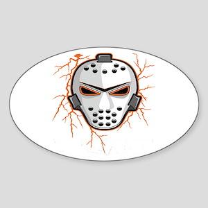 Orange Lightning Goalie Mask Oval Sticker
