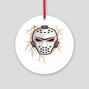 Orange Lightning Goalie Mask Ornament (Round)