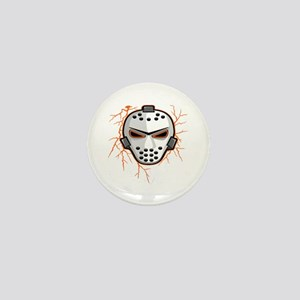 Orange Lightning Goalie Mask Mini Button