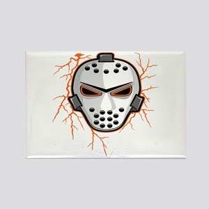 Orange Lightning Goalie Mask Rectangle Magnet