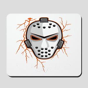 Orange Lightning Goalie Mask Mousepad