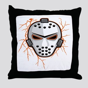 Orange Lightning Goalie Mask Throw Pillow