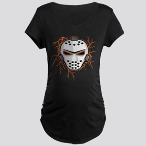 Orange Lightning Goalie Mask Maternity Dark T-Shir