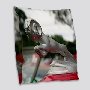 Ram old car hood ornament Burlap Throw Pillow