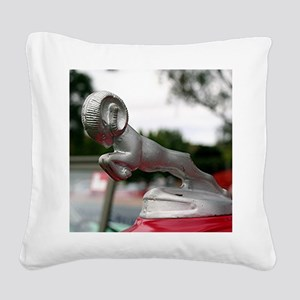 Ram old car hood ornament Square Canvas Pillow