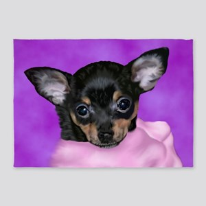 Chihuahua Puppy Portrait Print 5'x7'Area Rug