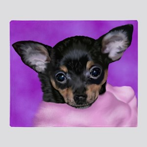 Chihuahua Puppy Portrait Print Throw Blanket