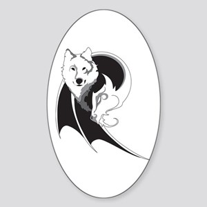Wolf & Dragon Sticker (Oval)