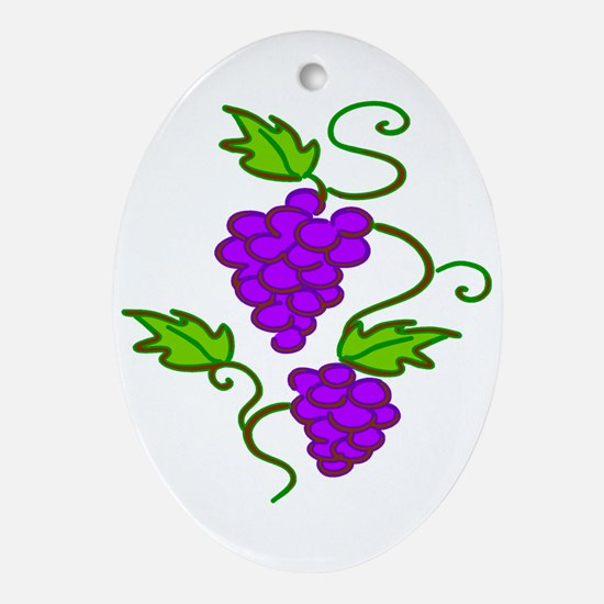 Grapes on a Vine Oval Ornament