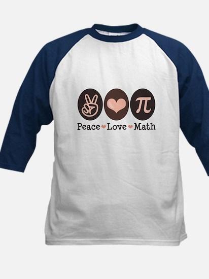 Peace Love Math Pi Kids Baseball Jersey