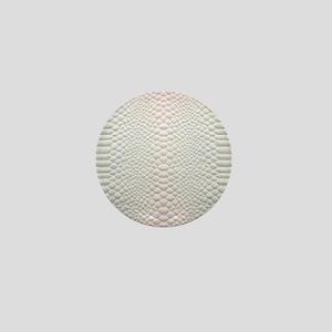 trendy white crocodile skin Mini Button