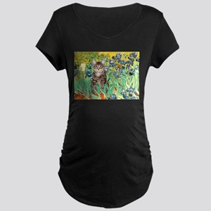 Irises / Tiger Cat Maternity Dark T-Shirt
