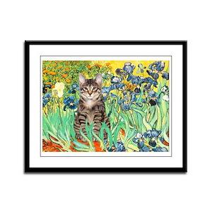 Irises / Tiger Cat Framed Panel Print