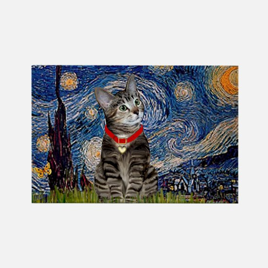 Starry Night / Tiger Cat Rectangle Magnet