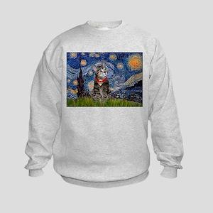 Starry Night / Tiger Cat Kids Sweatshirt