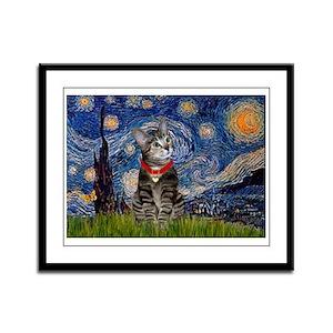 Starry Night / Tiger Cat Framed Panel Print