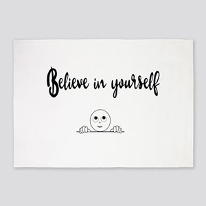 Believe In Yourself Text And Image 5'x7'Area Rug