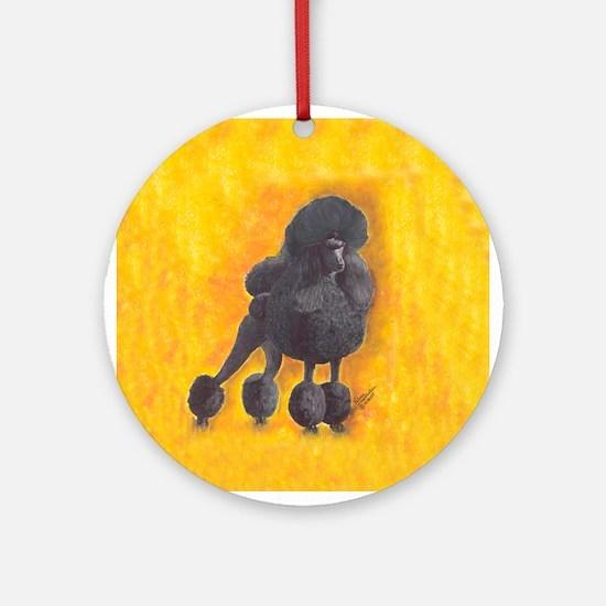 Black Standard Poodle Ornament (Round)